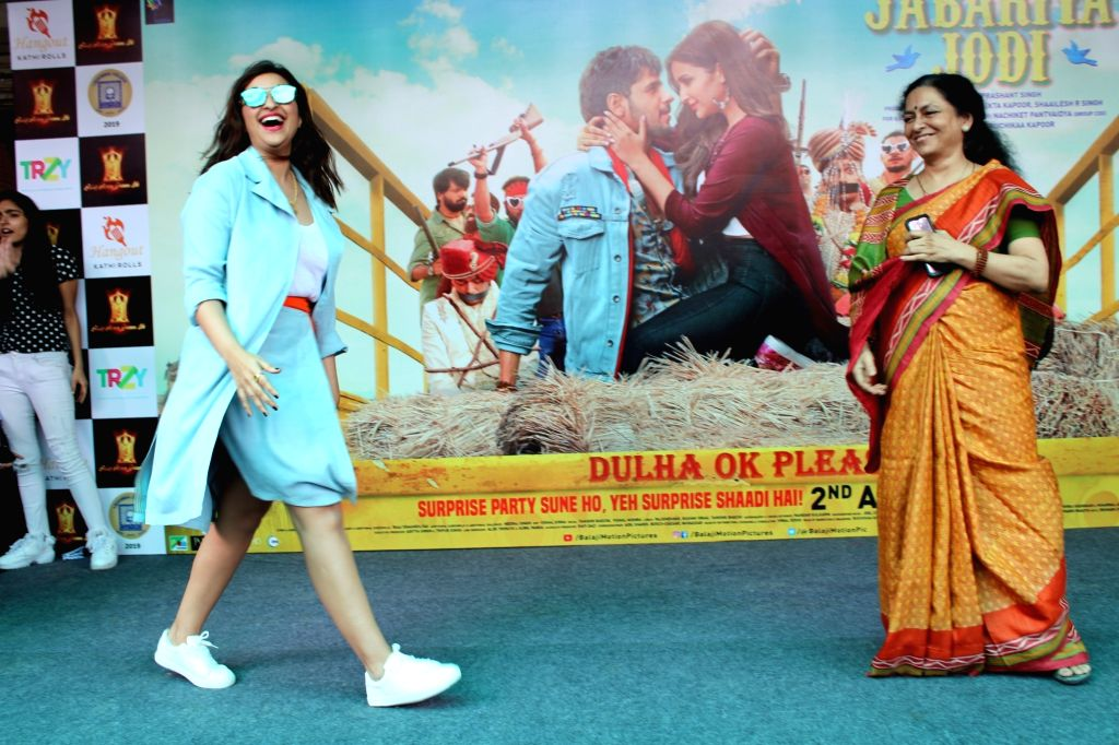 "Actress Parineeti Chopra during the promotions of her film ""Jabariya Jodi"" at Delhi University's Lakshmibai College, on July 26, 2019. - Parineeti Chopra"