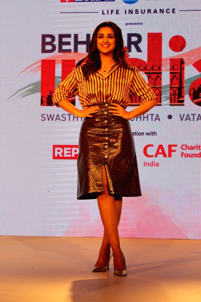 """Actress Parineeti Chopra, who is the face of a """"Behtar India"""" campaign at the launch of campaign in Mumbai on April 10, 2018. - Parineeti Chopra"""