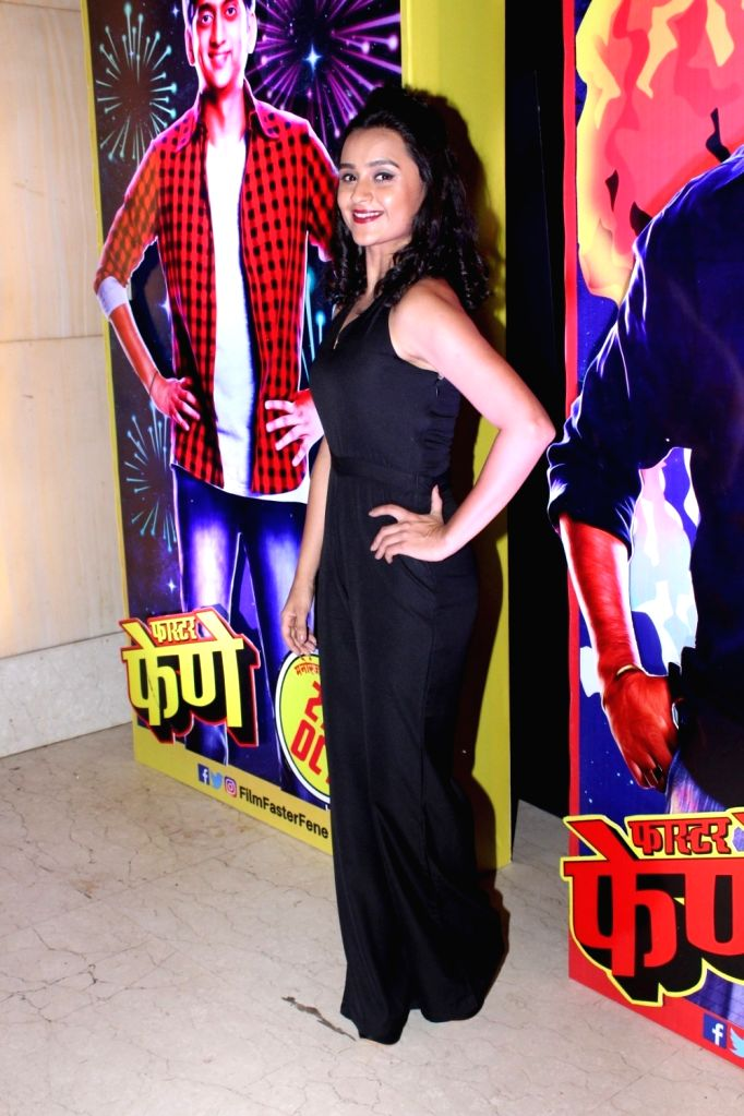 """Actress Parna Pethe during the song launch of her film """"Faster Fene"""" in Mumbai on Oct 13, 2017. - Parna Pethe"""