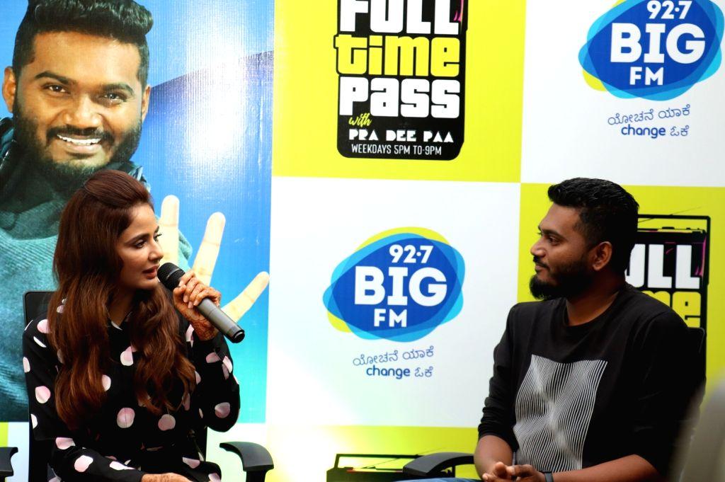 Actress Parul Yadav and RJ Pradeepa during a Big FM show in Bengaluru on Feb 7, 2019. - Parul Yadav