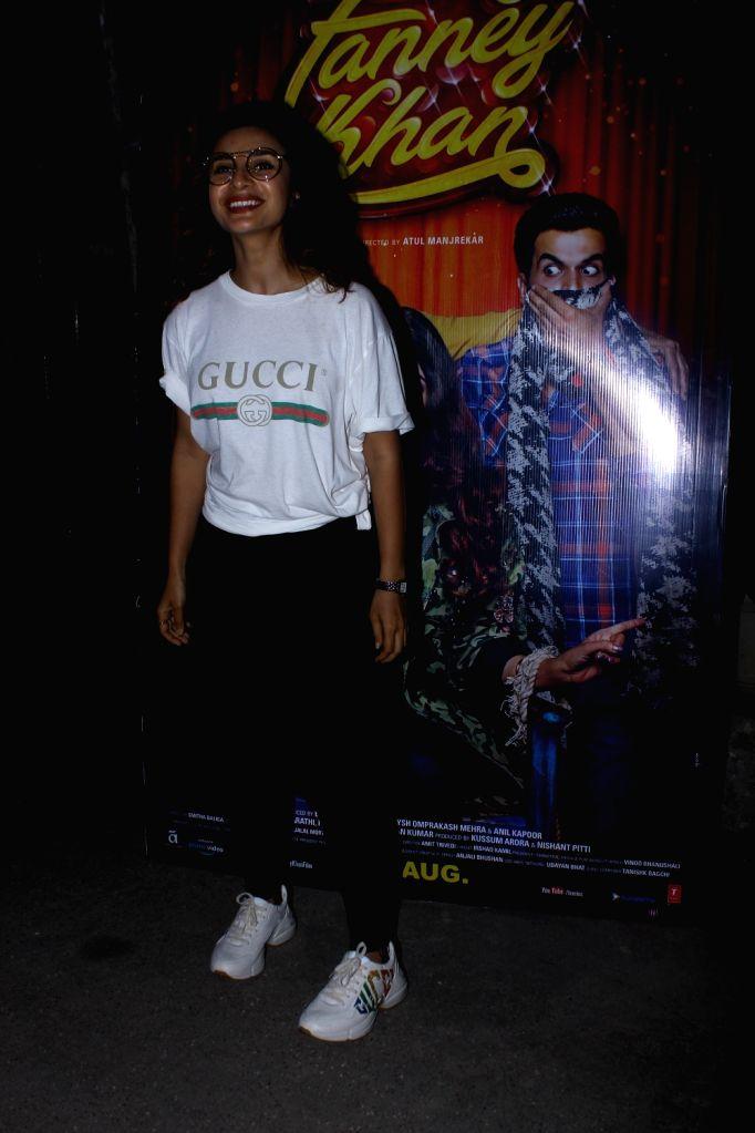 "Actress Patralekha at the special screening of upcoming film ""Fanney Khan"", in Mumbai on Aug 1, 2018. - Patralekha and Fanney Khan"