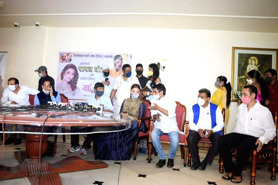 Actress Payal Ghosh joined the Republican Party of India in the presence of party chief and Union Minister Ramdas Athawale, in Mumbai on Oct 26, 2020. - Payal Ghosh