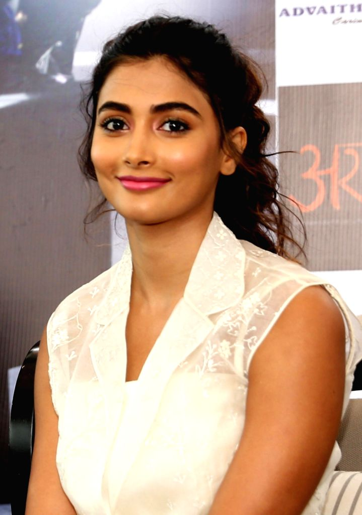 "Actress Pooja Hegde during a programme organised to promote her upcoming film ""DJ"" in Bengaluru, on June 22, 2017. - Pooja Hegde"