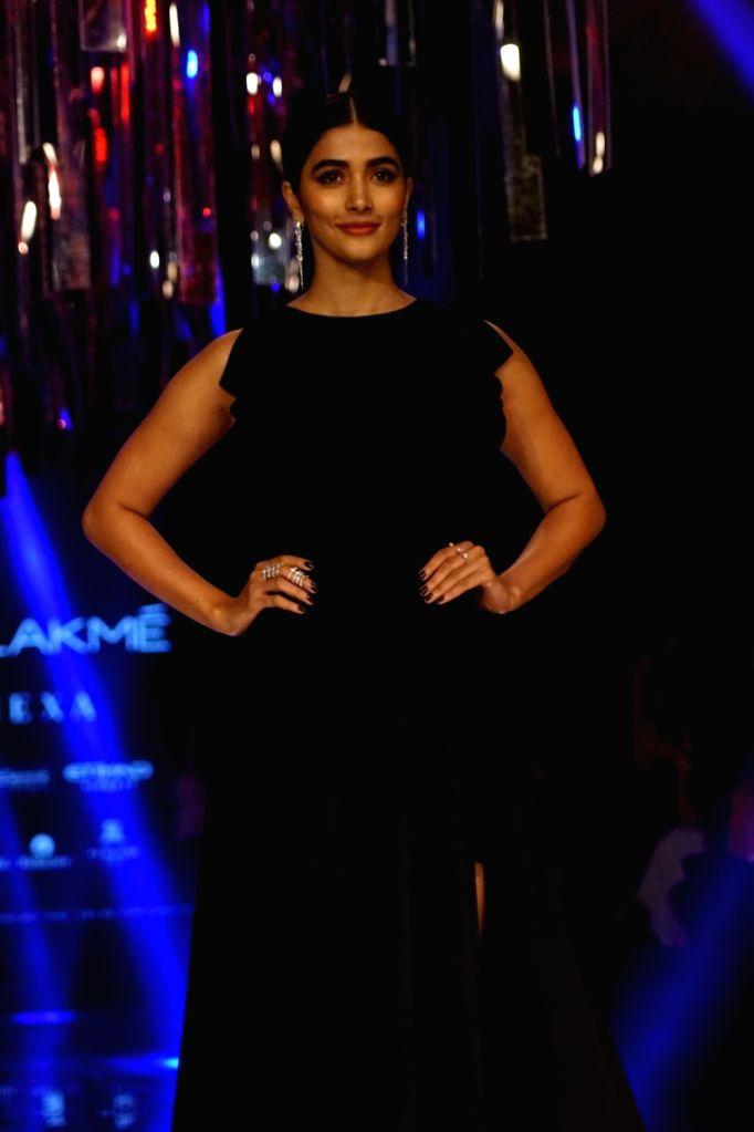 Actress Pooja Hegde during the Lakme Fashion Week Winter/Festive 2017 in Mumbai on Aug 20, 2017. - Pooja Hegde