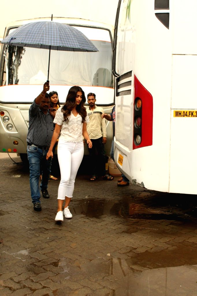 Actress Pooja Hegde seen at Mehboob Studio in Bandra, Mumbai on June 9, 2018. - Pooja Hegde