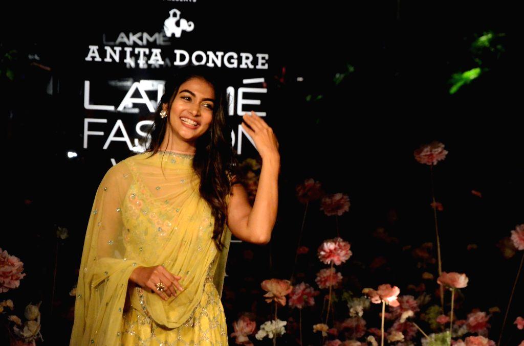 Actress Pooja Hegde showcases fashion designer Anita Dogre's creation on Day 2 of the Lakme Fashion Week (LFW) Summer/Resort 2019 in Mumbai, on Jan 31, 2019. - Pooja Hegde