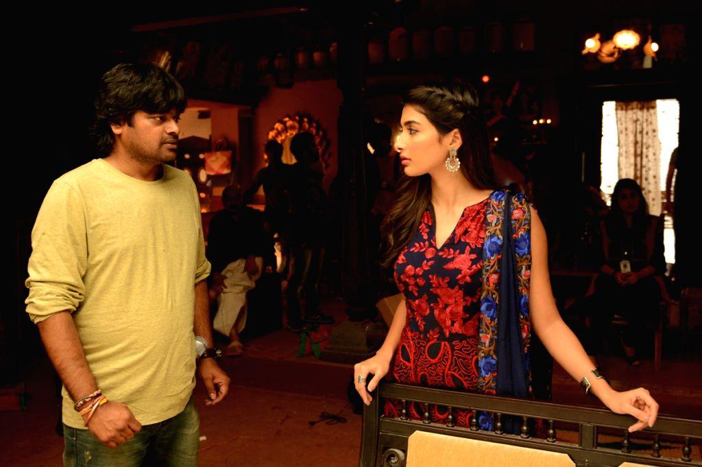 Actress Pooja Hegde with film director Harish Shankar on location of film Duvvada Jagannadham. - Pooja Hegde