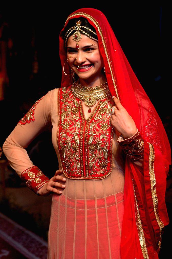 Actress Prachi Desai during a corporate fashion show in Kolkata on April 27, 2014.