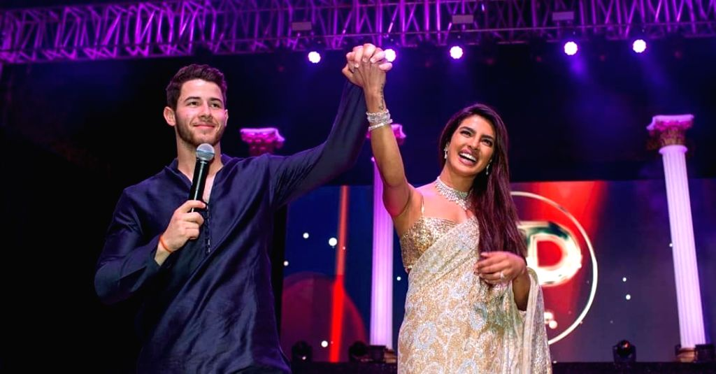 Actress Priyanka Chopra and American singer Nick Jonas at their wedding in Jodhpur on Dec 2, 2018. Priyanka and Nick exchanged wedding vows in a Christian wedding on Saturday. - Priyanka Chopra