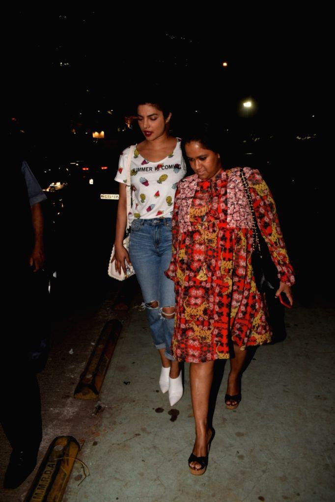 Actress Priyanka Chopra and Salman Khan's sister Arpita Khan Sharma seen at a restaurant in Mumbai on March 23, 2018. - Priyanka Chopra, Salman Khan and Arpita Khan Sharma