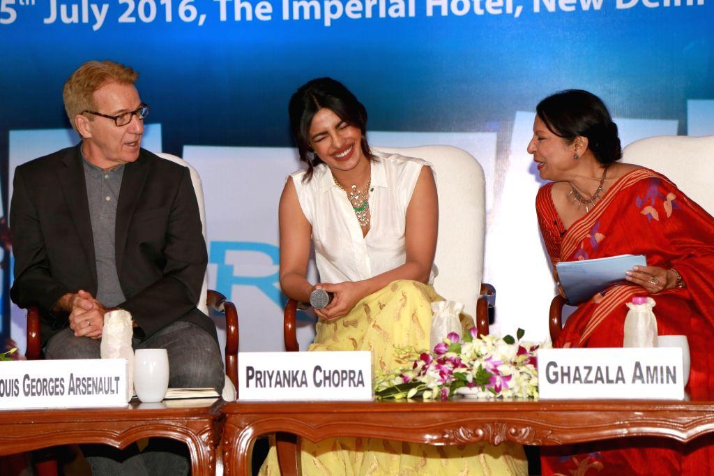 Actress Priyanka Chopra and UNICEF India representative Louis Georges Arsenault during UNICEF #FairStart campaign, in New Delhi, on July 5, 2016. - Priyanka Chopra
