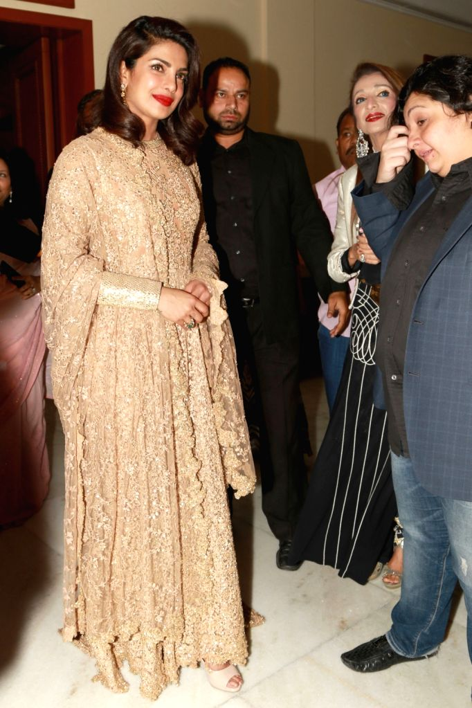 Actress Priyanka Chopra at a dinner hosted by Indira and Dr T. Subbarami Reddy, in New Delhi on April 12, 2016. - Priyanka Chopra and T. Subbarami Reddy