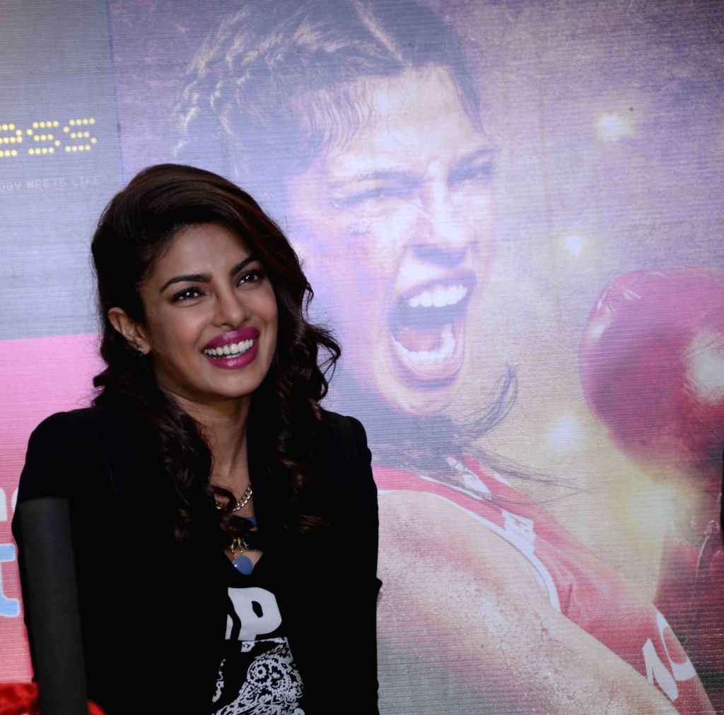 Actress Priyanka Chopra during a press conference to promote her film 'Mary Kom' in Mumbai on Sept 11, 2014. - Priyanka Chopra
