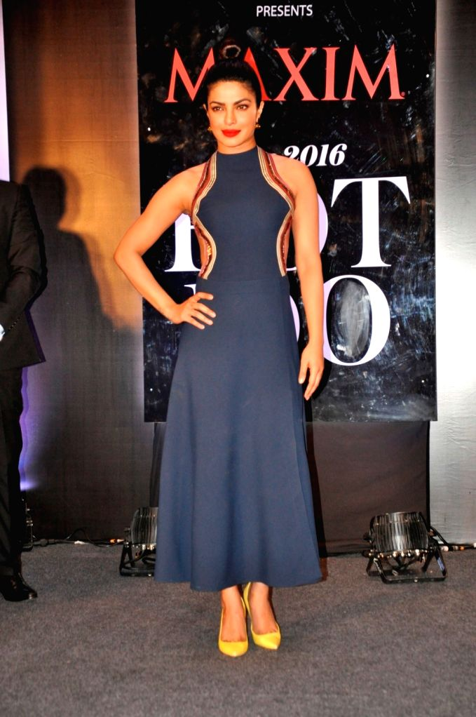 Actress Priyanka Chopra during an event as she appeared on the latest cover of Maxim India magazine in Mumbai, on June 30, 2016. She has also topped the list of Maxim Hot 100 list for the ... - Priyanka Chopra