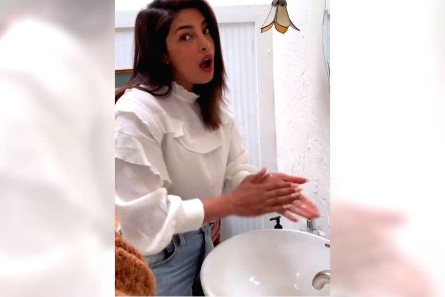 Actress Priyanka Chopra has taken the #safehands challenge and shared a video where she is seen washing her hands with liquid soap, singing a song penned by her pop star husband Nick Jonas. Priyanka ... - Priyanka Chopra