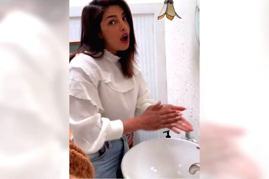 Actress Priyanka Chopra has taken the #safehands challenge and shared a video where she is seen washing her hands with liquid soap, singing a song penned by her pop star husband Nick Jonas. Priyanka took to Instagram to share a video where she can be - Priyanka Chopra