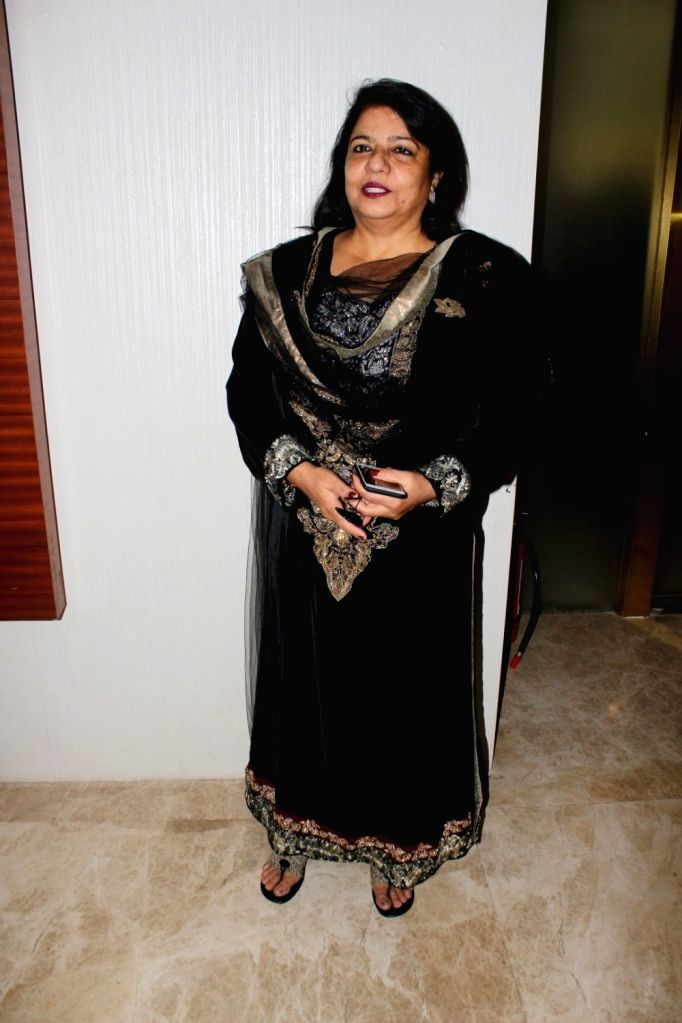 "Actress Priyanka Chopra's mother Madhu Chopra during the trailer launch of film ""Kaashi Amarnat"" in Mumbai on Sept 16, 2017. - Priyanka Chopra and Madhu Chopra"