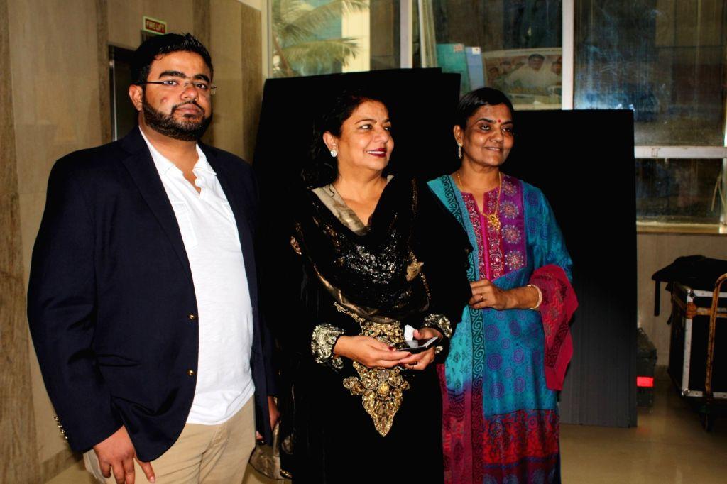 "Actress Priyanka Chopra's mother Madhu Chopra and brother Siddharth Chopra during the trailer launch of film ""Kaashi Amarnat"" in Mumbai on Sept 16, 2017. - Priyanka Chopra, Madhu Chopra and Siddharth Chopra"