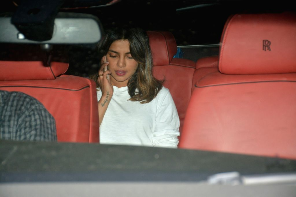 Actress Priyanka Chopra seen at actor-filmmaker Farhan Akhtar's residence in Bandra, Mumbai on July 24, 2018. - Priyanka Chopra