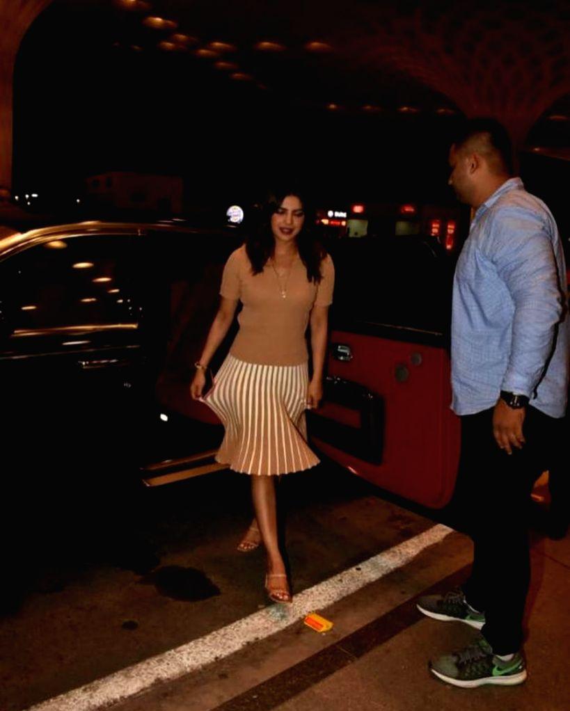 Actress Priyanka Chopra seen at Chhatrapati Shivaji International Airport in Mumbai on June 14, 2019. - Priyanka Chopra