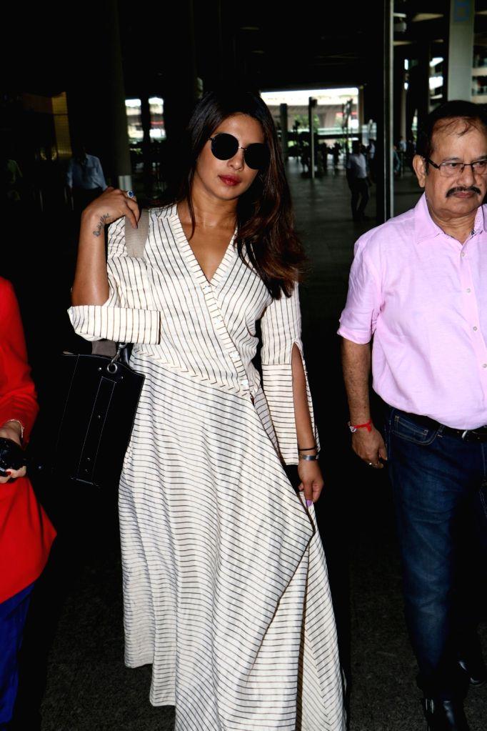 Actress Priyanka Chopra spotted at airport in Mumbai, on Aug 16, 2017. - Priyanka Chopra