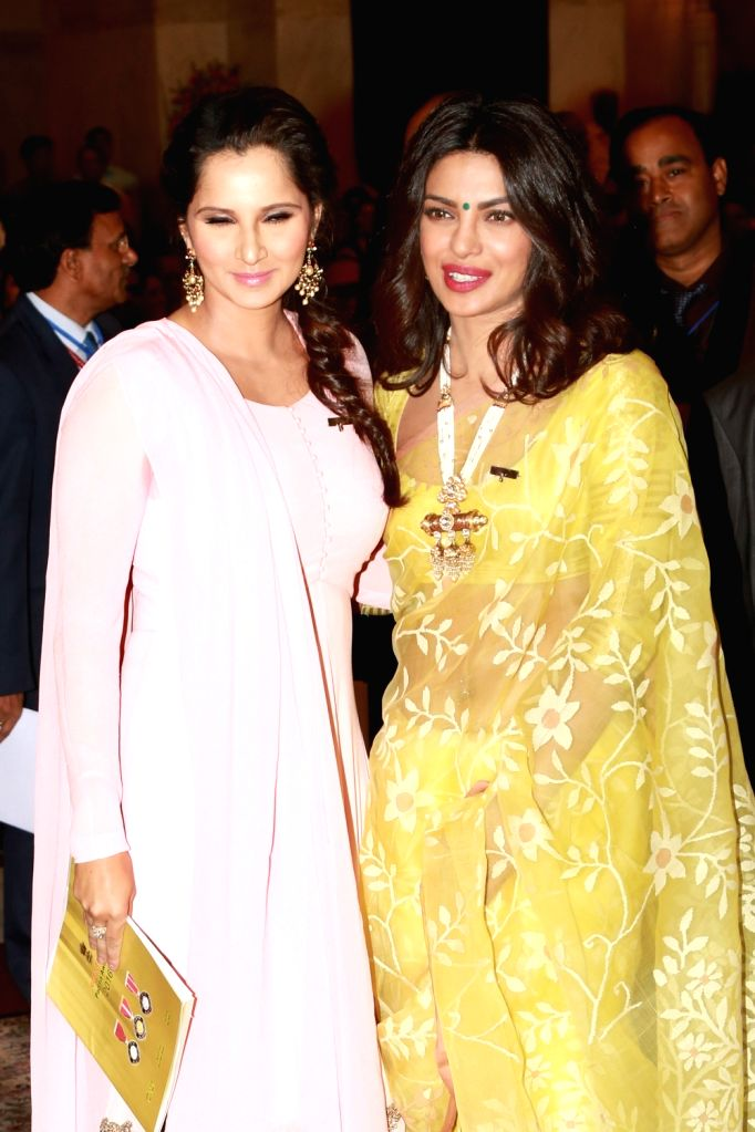 Actress Priyanka Chopra with  tennis player Sania Mirza during Civil Investiture Ceremony– II at Rashtrapati Bhawan on April 12, 2016. - Priyanka Chopra and Sania Mirza