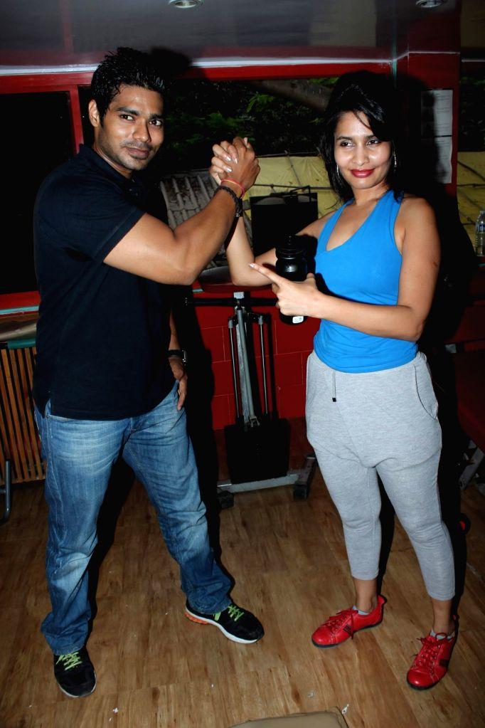 Actress Rachana Shah`s fitness workout at Andheri.