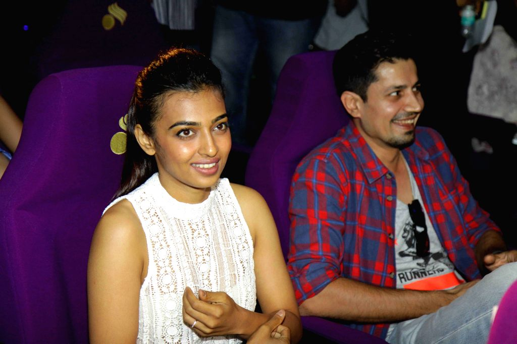 Actress Radhika Apte during the launch of Epic Channel`s show `Stories by Rabindranath Tagore` directed by Anurag Basu, in Mumbai on June 25, 2015. - Radhika Apte and Anurag Basu
