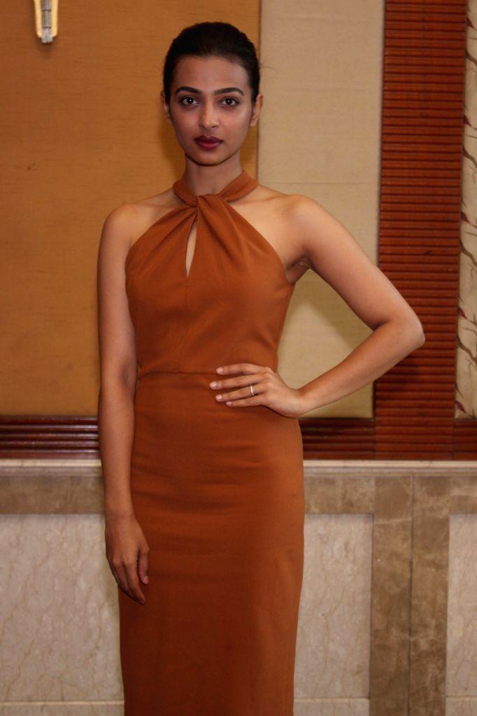 Actress Radhika Apte during the promotion of film Manjhi- The Mountain Man, in New Delhi, on Aug 18, 2015. - Radhika Apte