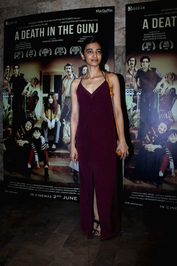 Actress Radhika Apte during the screening of film A Death in The Gunj in Mumbai on May 29, 2017. - Radhika Apte