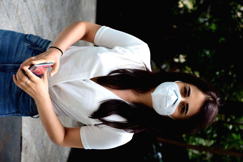 Actress Radhika Madan seen at the office of Maddock films in Mumbai's Santacruz on Aug 13, 2020. - Radhika Madan