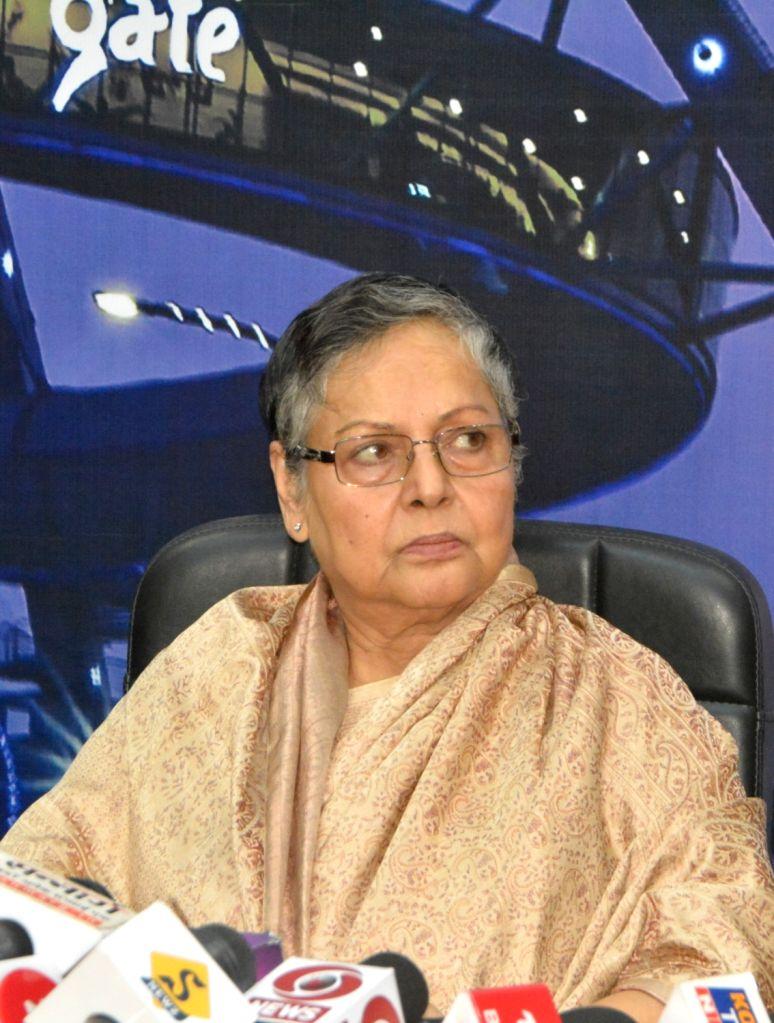 Actress Rakhee Gulzar at a press meet during 25th Kolkata International Film festival in Kolkata on Nov 10, 2019. - Rakhee Gulzar