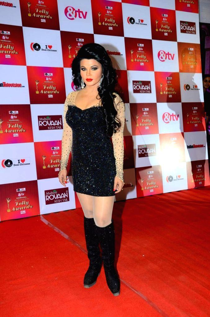 Actress Rakhi Sawant during the 14th Indian Telly Awards in Mumbai, on Nov 28, 2015. - Rakhi Sawant