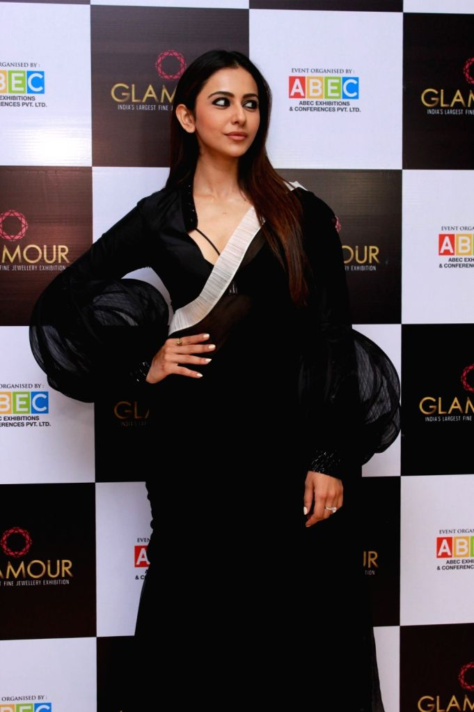 Actress Rakul Preet Singh at the inauguration of actress turned jewelry designer Neelam Kothari's jewelry store in Mumbai on July 27, 2019. - Rakul Preet Singh