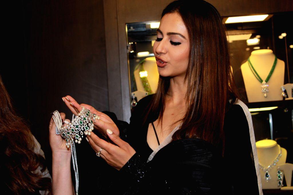 Actress Rakul Preet Singh at the inauguration of actress turned jewelry designer Neelam Kothari's jewelry store in Mumbai on July 26, 2019. - Rakul Preet Singh