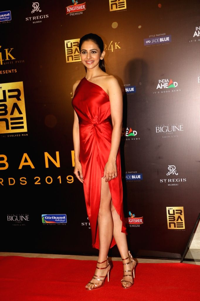 "Actress Rakul Preet Singh on the red carpet of ""Urbane Awards 2019"", in Mumbai, on June 1, 2019. - Rakul Preet Singh"