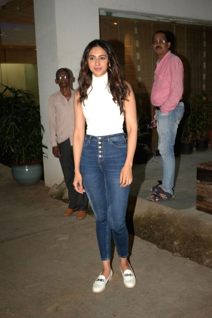 Actress Rakul Preet Singh seen at a Mumbai sound studio on Sep 26, 2019. - Rakul Preet Singh