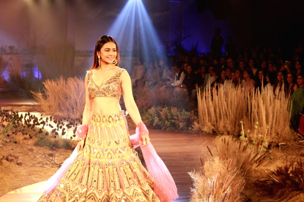 Actress Rakul Preet Singh walks the ramp showcasing fashion designer Reynu Tandon's creations at the India Couture Week 2019 in New Delhi, on July 26, 2019. - Rakul Preet Singh