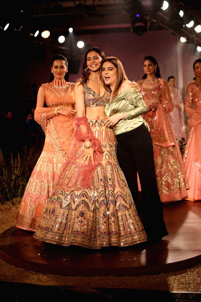 Actress Rakul Preet Singh walks the ramp for designer Reynu Tandon at India Couture Week 2019 in New Delhi, on July 26, 2019. - Rakul Preet Singh