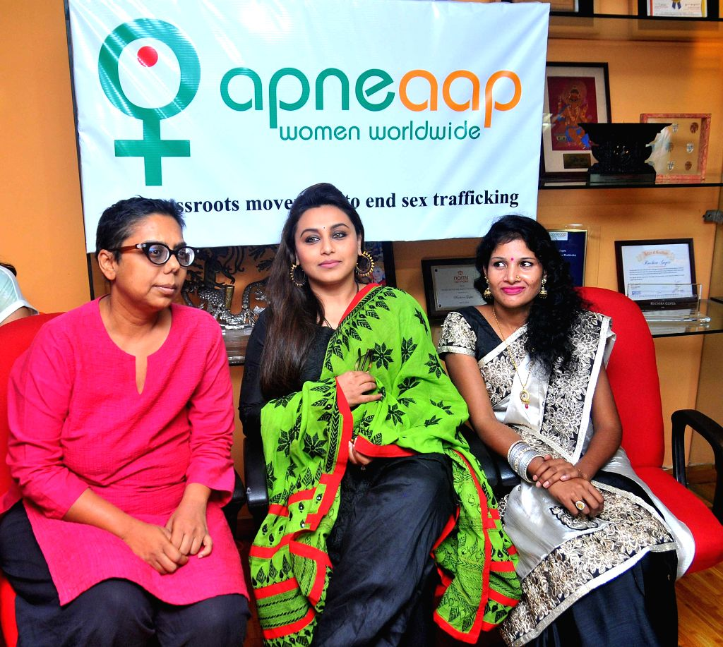 Actress Rani Mukherjee with founder president of Apne Aap, Ruchira Gupta during a programme in New Delhi on Sept 4, 2014. - Ruchira Gupta