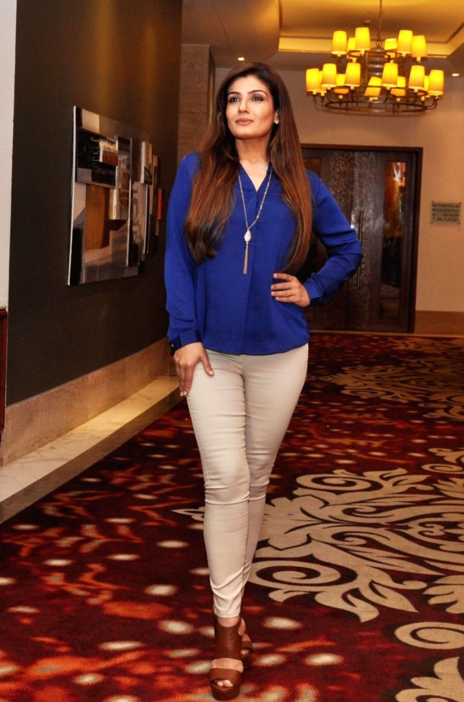 "Actress Raveena Tandon during a press conference regarding he upcoming film ""Maatr – The Mother"" in Gurgaon, on May 12, 2016. - Raveena Tandon"