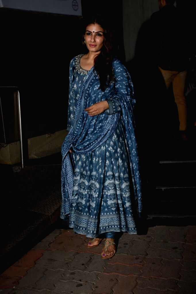 Actress Raveena Tandon during marriage anniversary celebrations of her parents in Mumbai on June 1, 2019. - Raveena Tandon