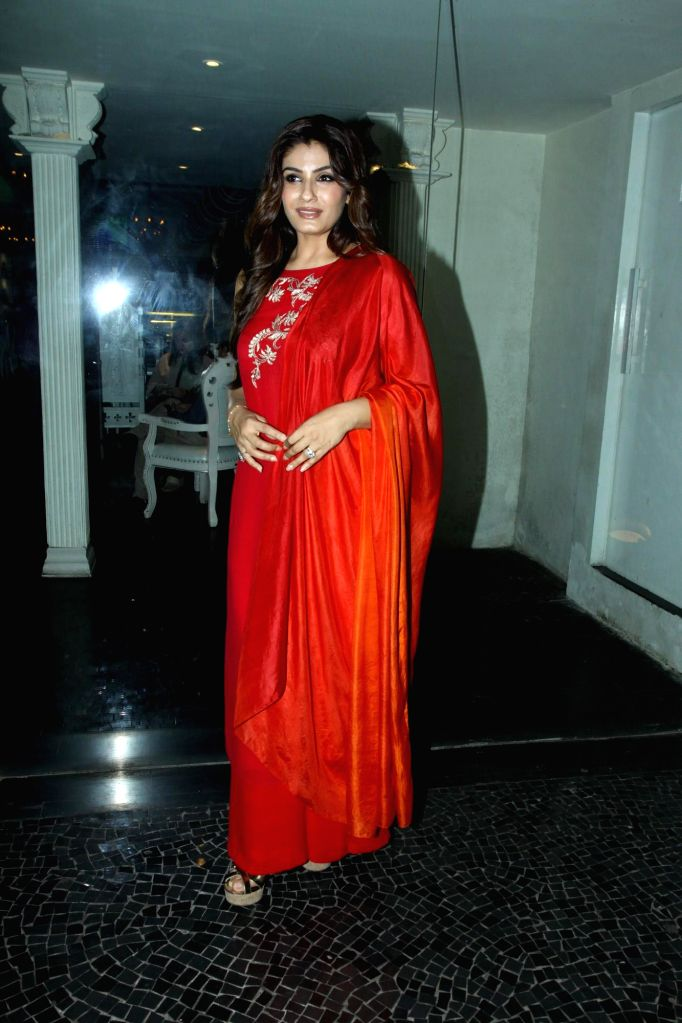Actress Raveena Tandon during the sundown party for her show Simply Baatein with Raveena in Mumbai on Sept. 3, 2014. - Raveena Tandon