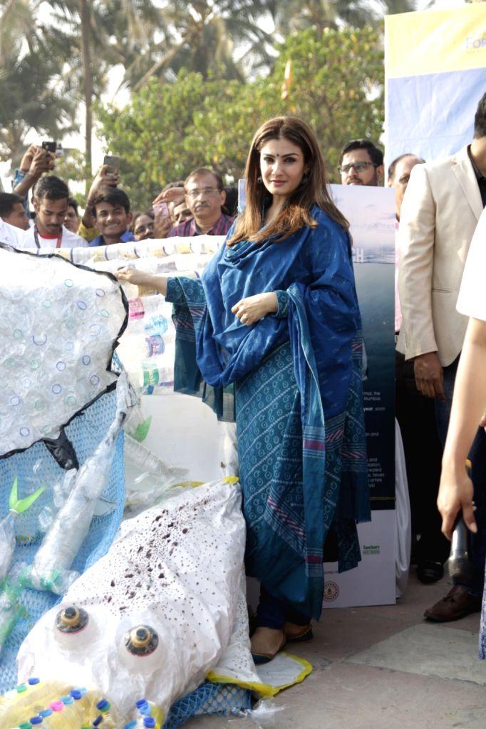 """Actress Raveena Tandon inaugurates """"Save The Beach"""" campaign at Juhu in Mumbai on March 1, 2019. - Raveena Tandon"""