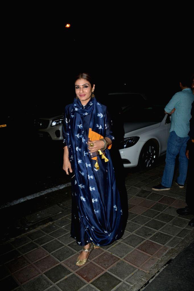 Actress Raveena Tandon seen at Mumbai's Bandra, on Feb 16, 2019. - Raveena Tandon