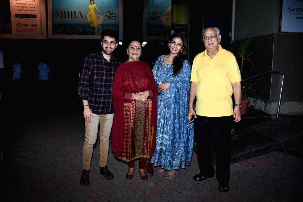 Actress Raveena Tandon with her family during marriage anniversary celebrations of her parents in Mumbai on June 1, 2019. - Raveena Tandon
