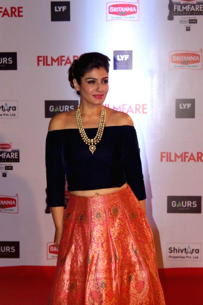 Actress Raveena Tondon during the 61st Britannia Filmfare Awards in Mumbai on January 15, 2016. - Raveena Tondon