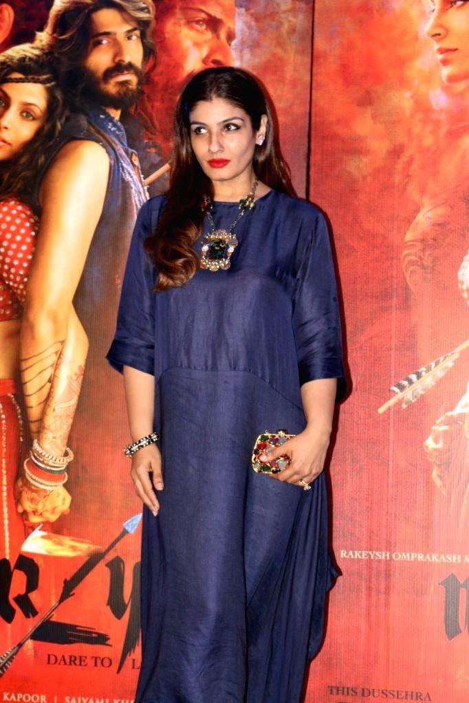 Actress Raveena Tondon during the red carpet for get together of film Mirzya in Mumbai on Sept 26, 2016. - Raveena Tondon