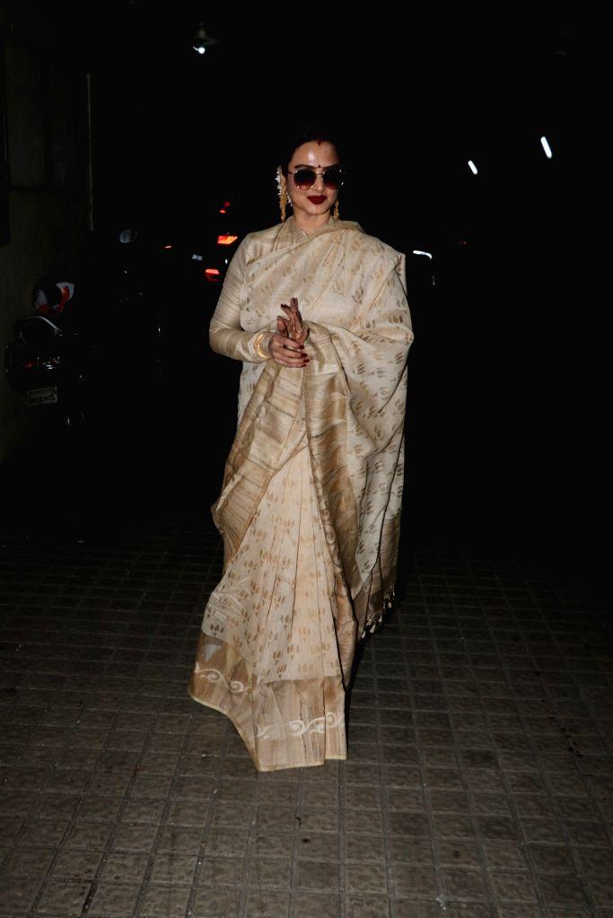 "Actress Rekha at the screening of upcoming film ""Manto"" in Mumbai on Sept 17, 2018. - Rekha"