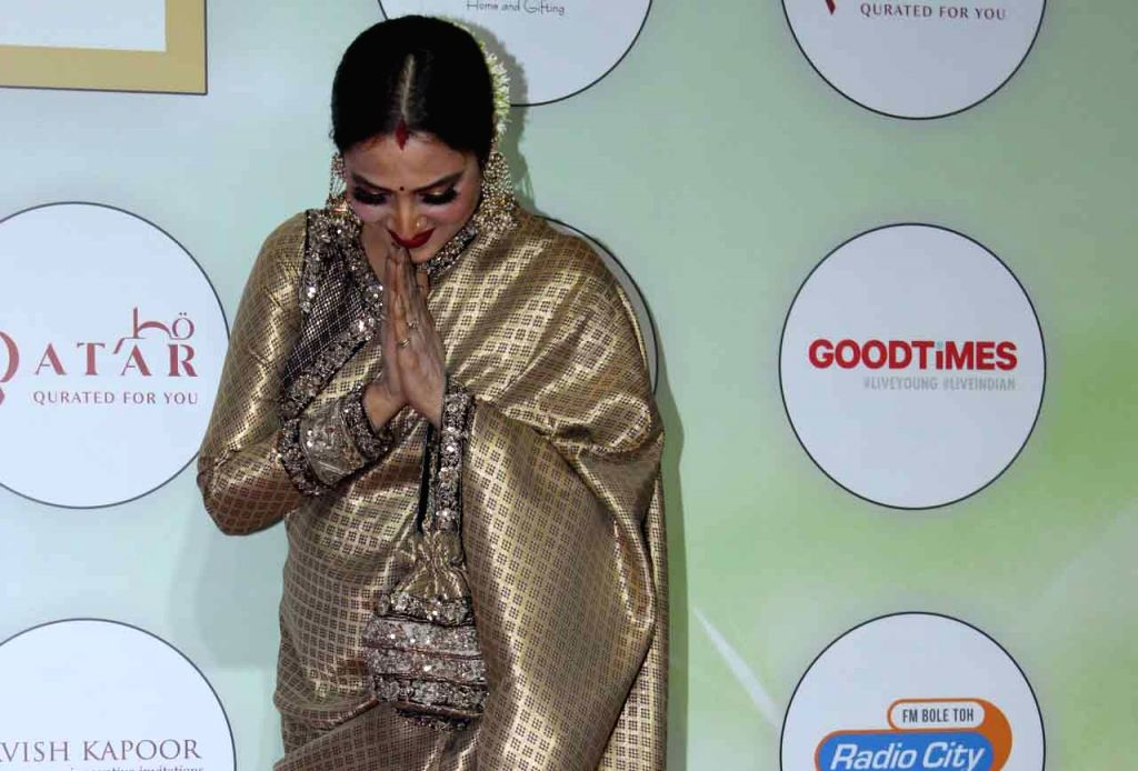 Actress Rekha on the red carpet of the GeoSpa Awards 2019, in Mumbai, on April 24, 2019. - Rekha